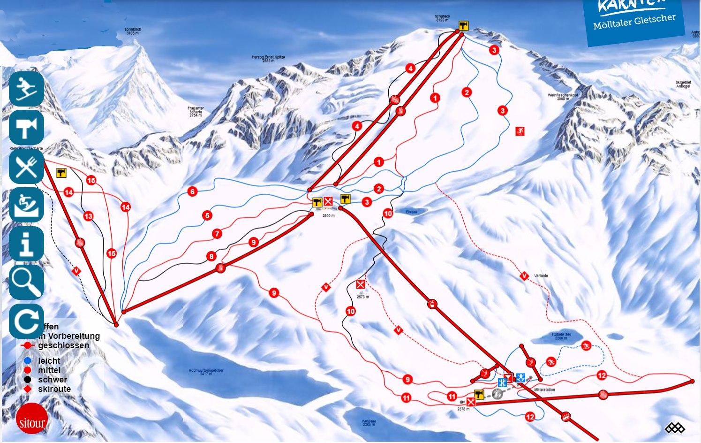 mapa pistas glaciar Molltaler