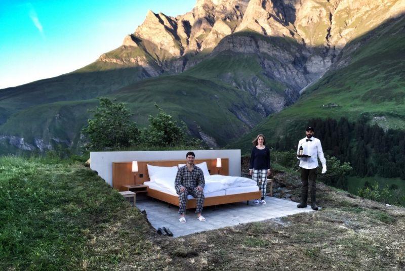 null stern hotel arte conceptual bajo las estrellas de los alpes suizos lugares de nieve. Black Bedroom Furniture Sets. Home Design Ideas