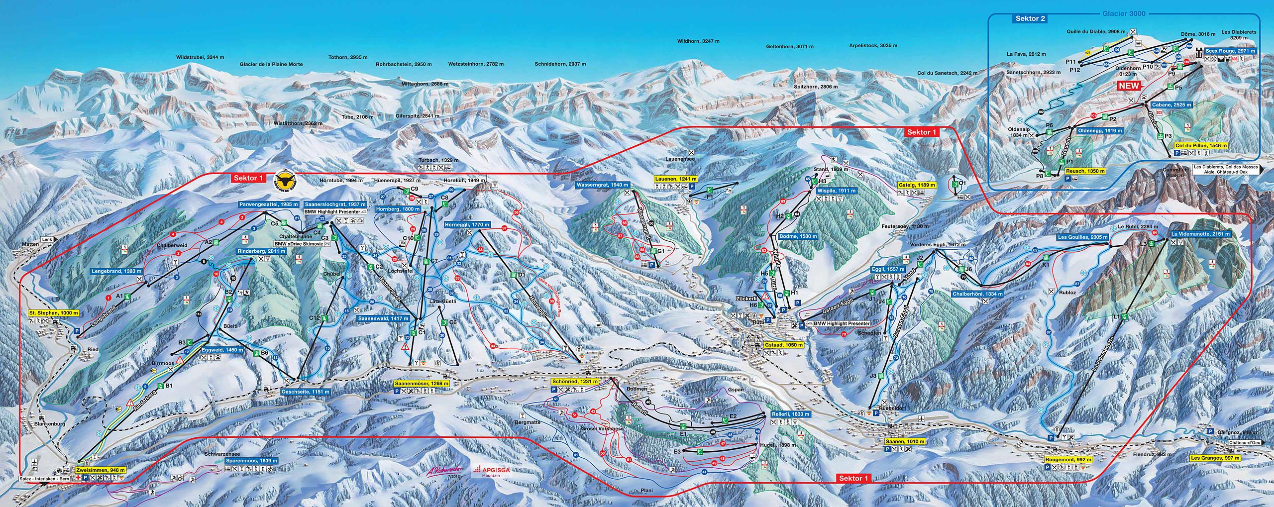 mapa de pistas Gstaad