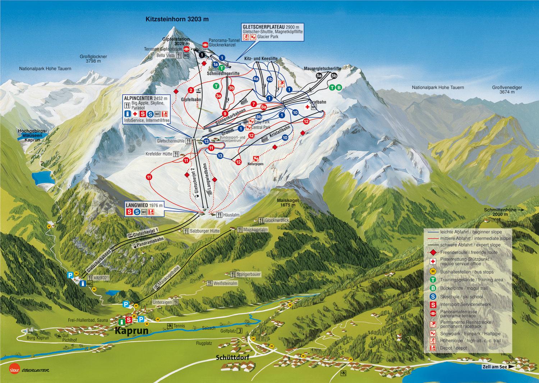 imagen del mapa del glaciar de Kaprun