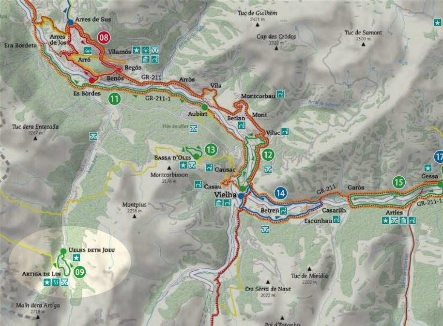 Mapa del recorrido de la ruta de l'Artiga de Lin - Uelhs deth Joueu