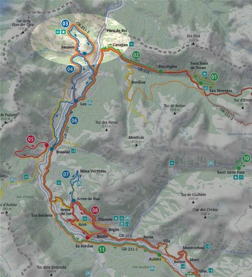 Mapa de la ruta Bausén - Fageda de Carlac