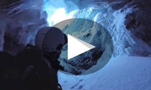 Un esquiador cae dentro de una profunda grieta del glaciar de Saas-Fee y lo graba con la GoPro