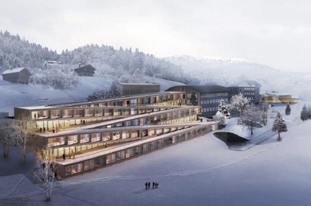Un hotel en Suiza permitirá a los huéspedes bajar esquiando por sus plantas como si fuera una pista