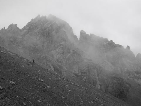 Llegando a la Seescharte entre nubes