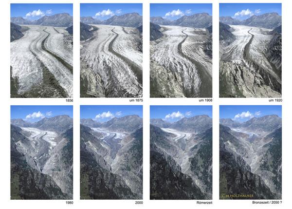 comparativa del glaciar aletsch