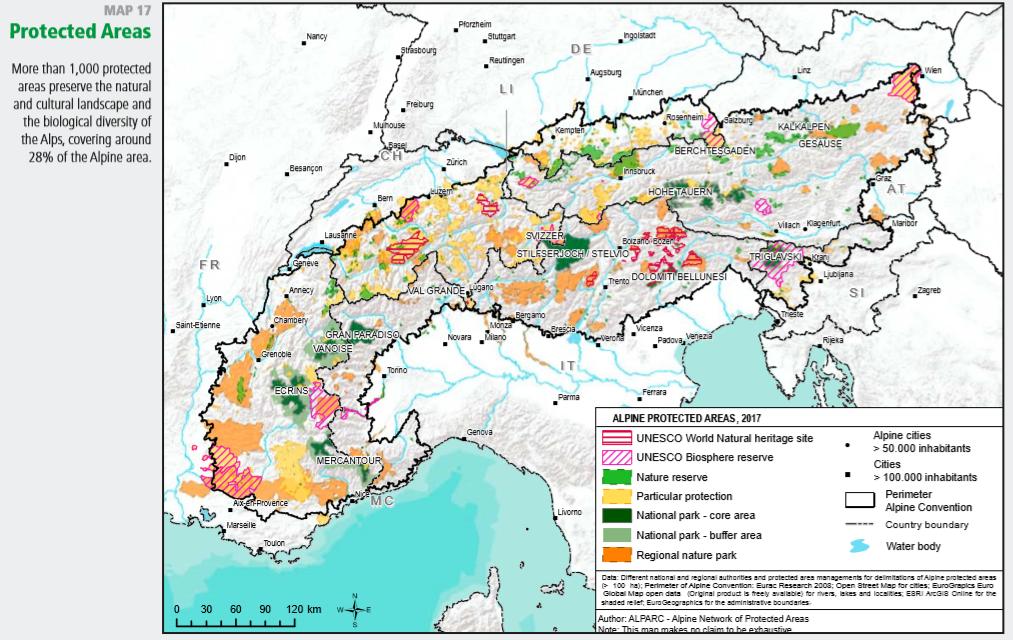 Áreas protegidas en Los Alpes