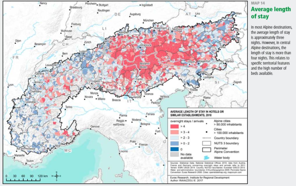 Duración de las estancias turísticas por regiones en Los Alpes