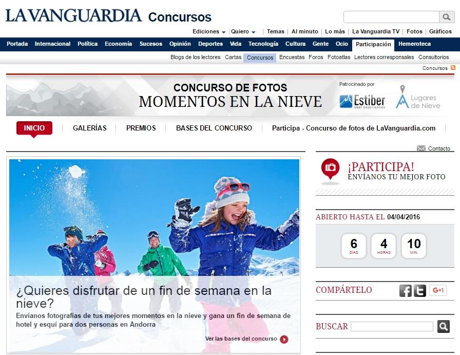Captura Concurso de La Vanguadia para pasar un fin de seman en Andorra, por Estiber