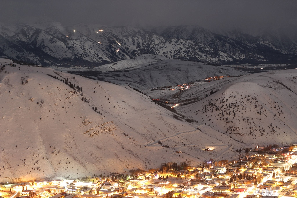 Imagen nocturna de jackson Hole en Wyoming
