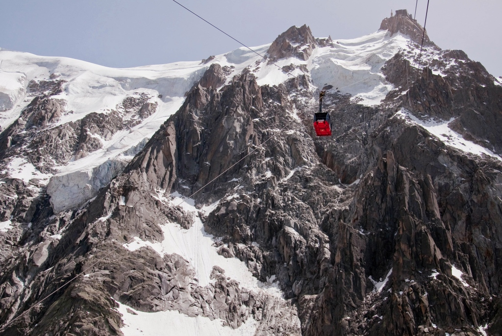 Imagen del teleférico de l'Aiguille du Midi