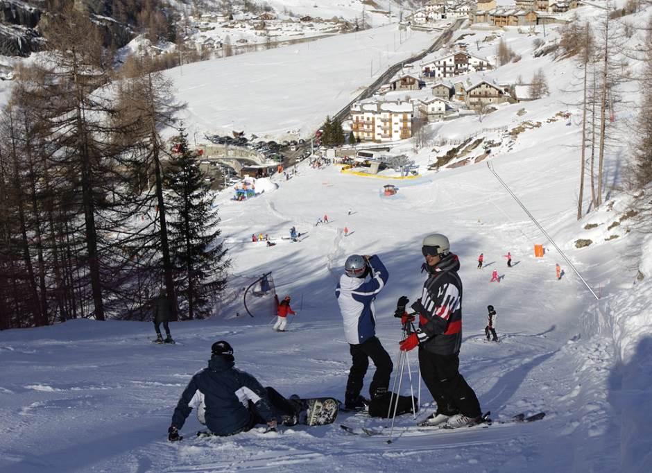 Disfrutando de un día de esquí en Valgrisenche