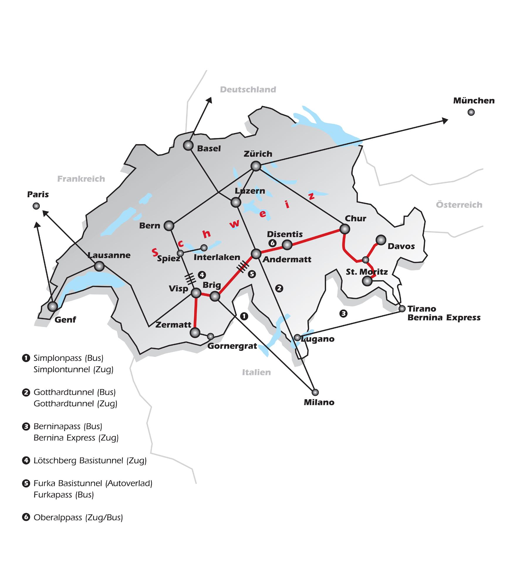El recorrido en mapa del Glacier Express