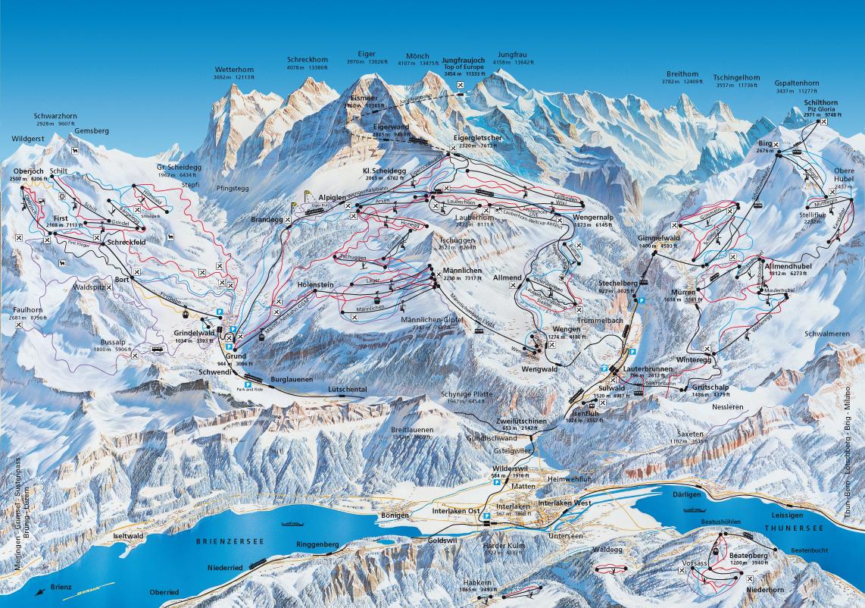 Plano de pistas de Jungfrau Ski Region