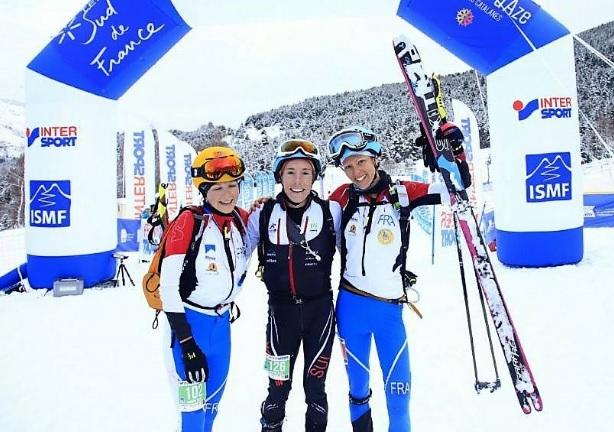 Laetitia Roux, Axelle Mollaret y Maude Mathys