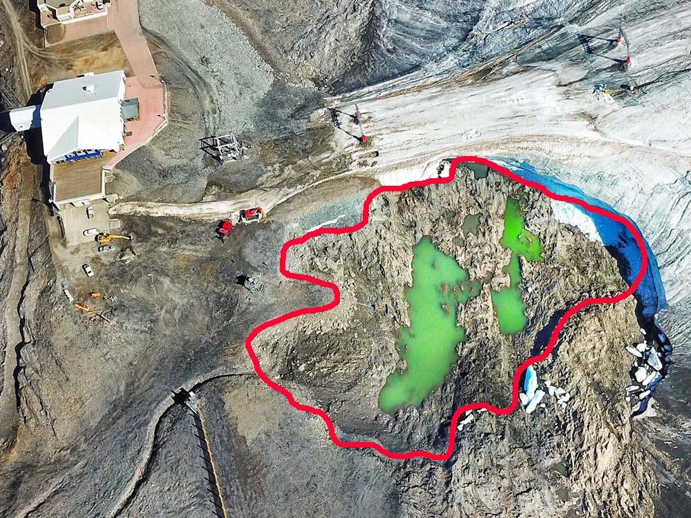 El lago del glaciar de Les 2 Alpes desaparece en 48 horas