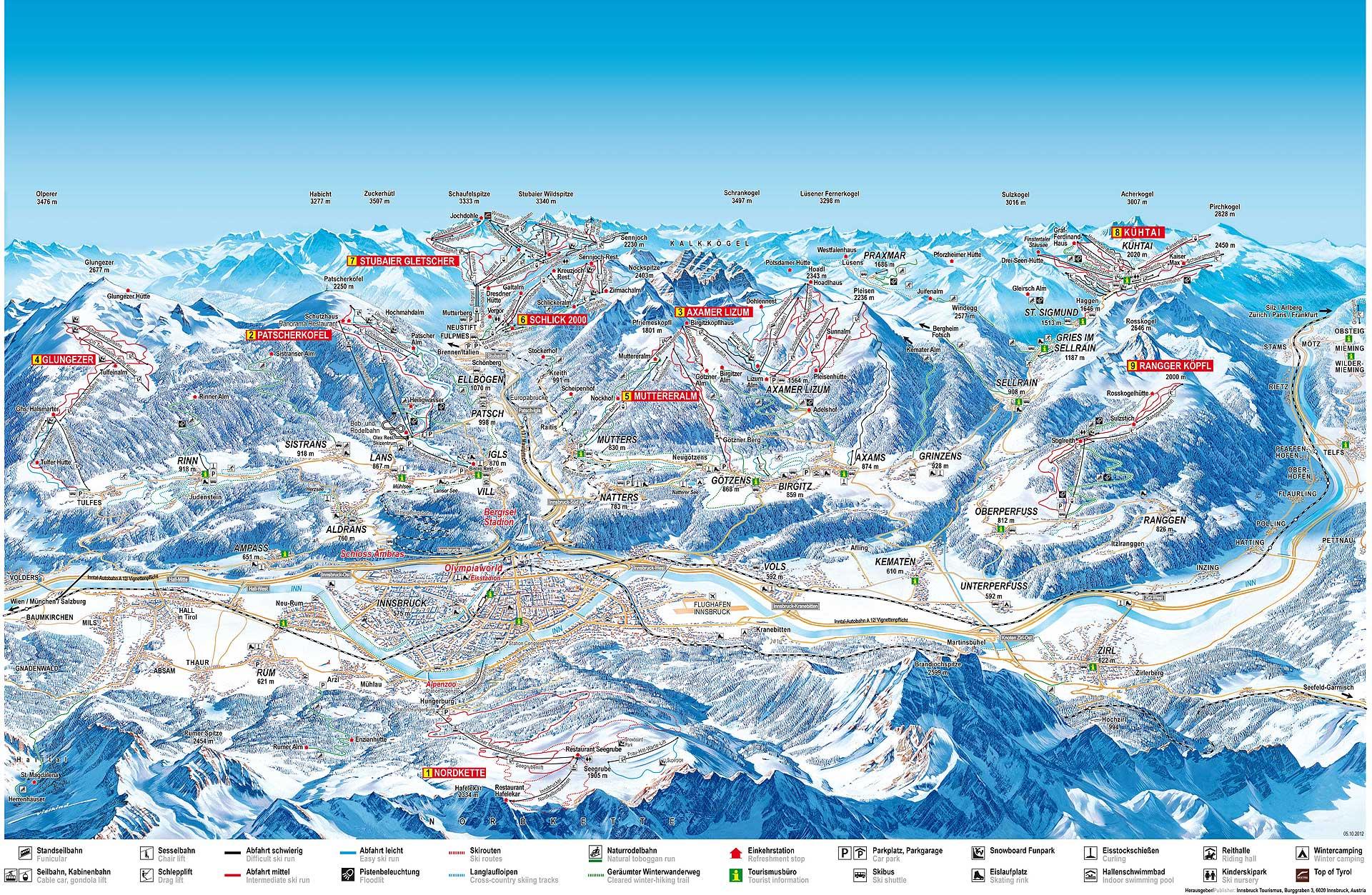Plano de las estaciones y  sus pistas en la zona de  Innsbruck,