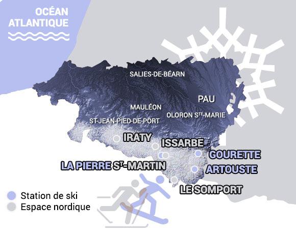 Mapa de situación de las estaciones de esquí alpino y nórdico de la región de los Pirineos Atlánticos