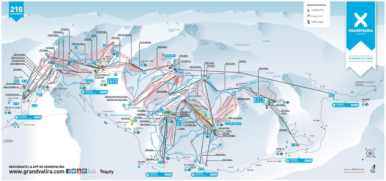 mapa 2D de Grandvalira desarrollado por Tech4snow