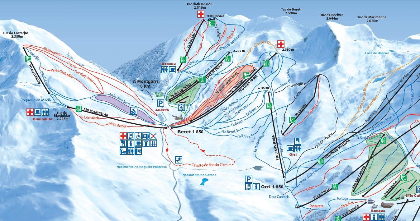 Detalle del mapa de pistas de Baqueira-Beret 2014/15 con los nuevos remontes