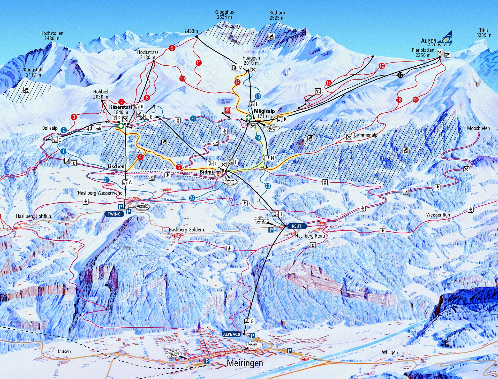 mapa pistas Meiringen-Hasliberg