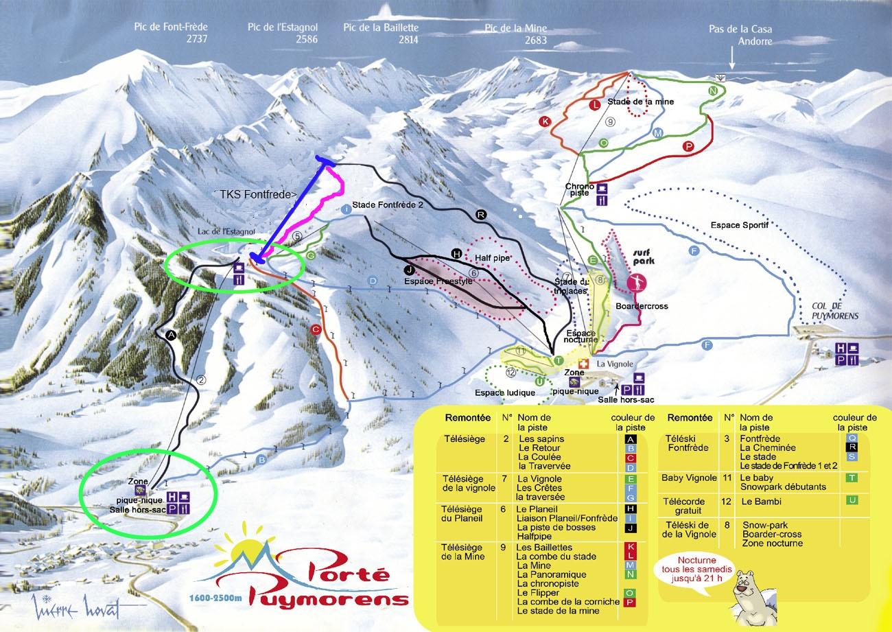 mapa de pistas de Porté-Puymorens