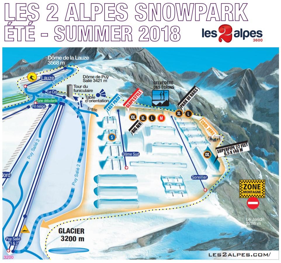 mapa snowpark les deux Alpes