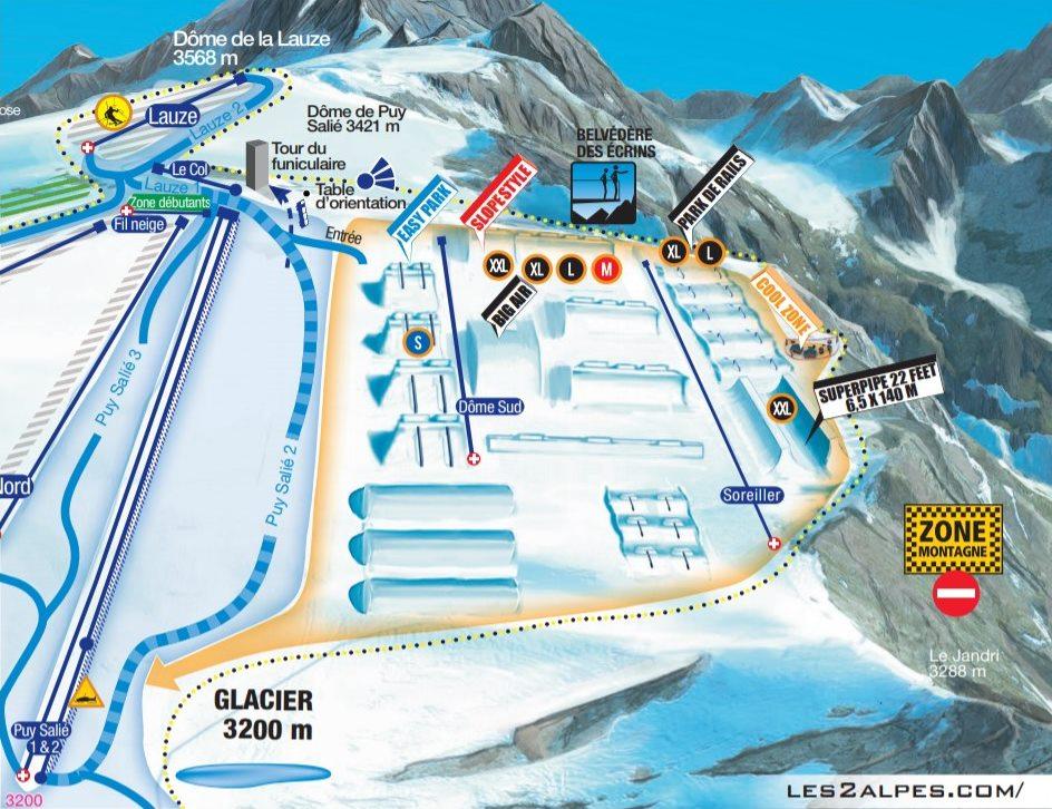 Mapa snowpark verano Les Deux Alpes