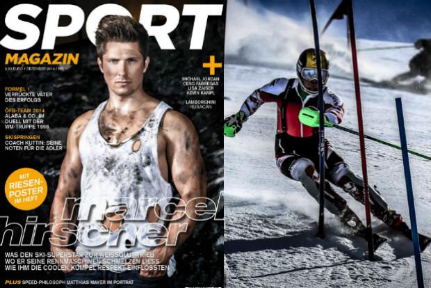 Hirscher en portada de la revista Sport y en plena faena en Copa del Mundo de Slalom