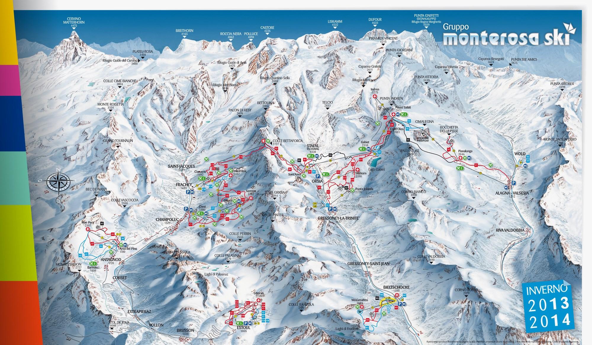 Mapa pistas Monterosa