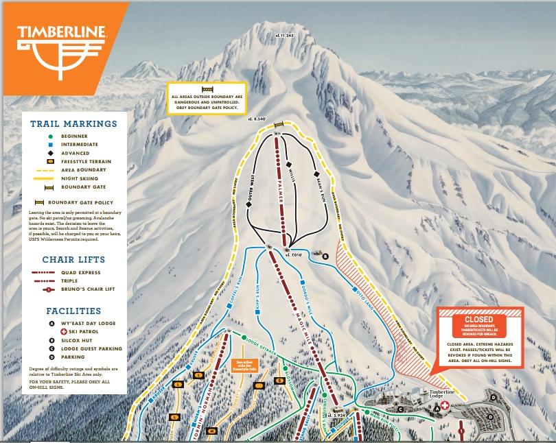 mapa pistas Mount Hood