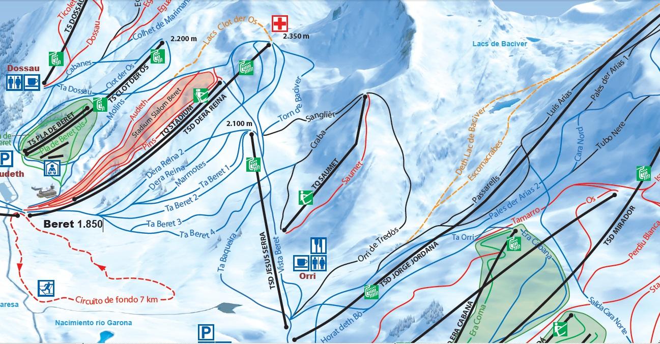 Detalle con los nuevos remontes y pistas de la zona de Beret i Orri