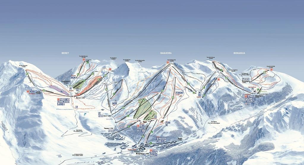 Vista general del mapa de pistas de Baqueira-Beret