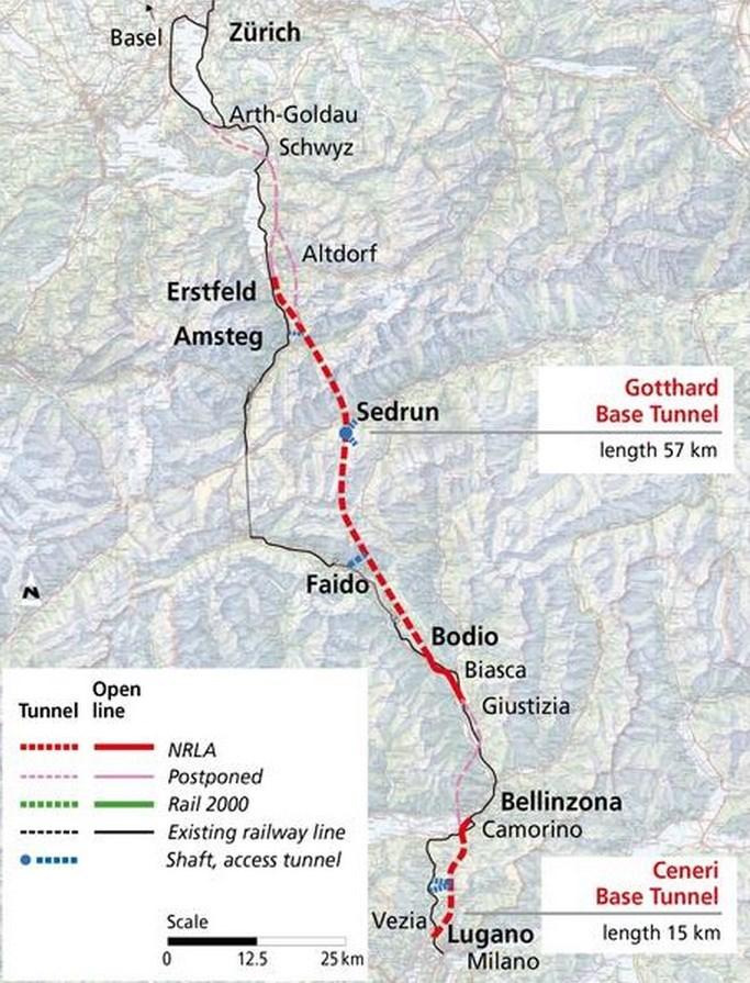 Recorrido del túnel ferroviario más largo del mundo en Gotthard Pass