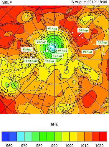 ruta ciclon ártico 2012