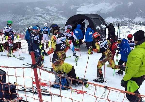 Juan del Campo, Álex puente y Joaquim Salarich en el Slalom Copa de Europa de La Molina. RFEDI Photo