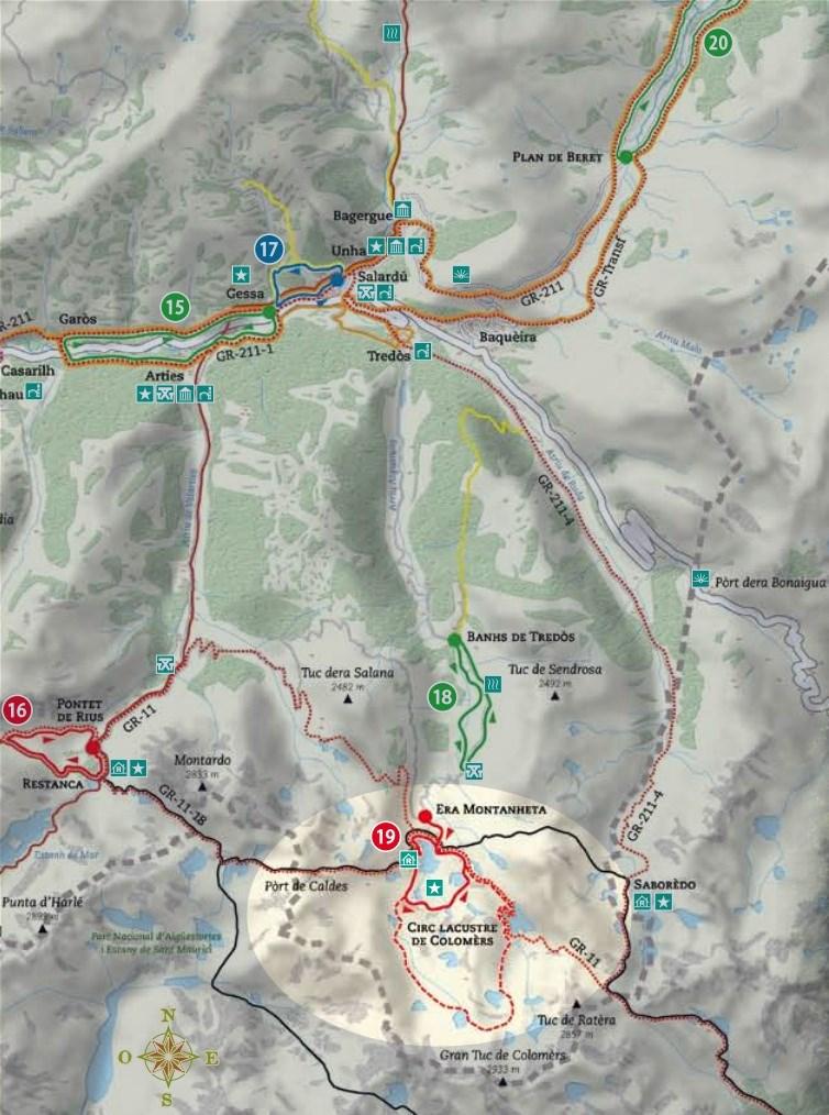 Mapa de la ruta de los 7 lagos del circo de Colomèrs