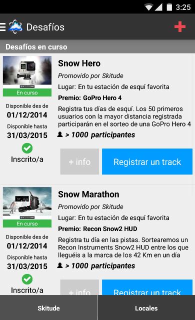 Captura de la App Skitude en su apartado de desafíos