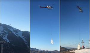 Polémica en Francia porque Luchon Superbagnères mueve nieve en helicóptero