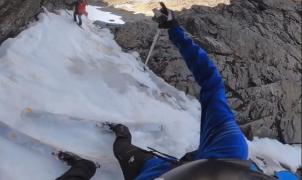 Vídeo viral: Vertiginoso descenso con esquís de Kilian Jornet por una canal de Noruega