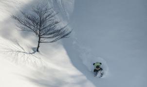 """La popular mascota japonesa Melon Kuma se viraliza esquiando en el """"powder"""" nipón"""