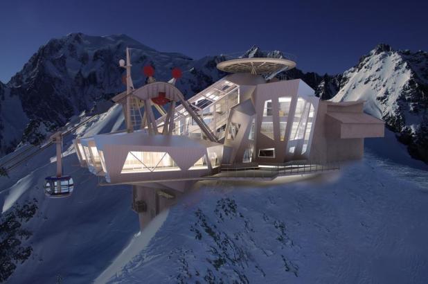 Futura llegada de Teleférico al Pico Helbronner (3.462 m.)
