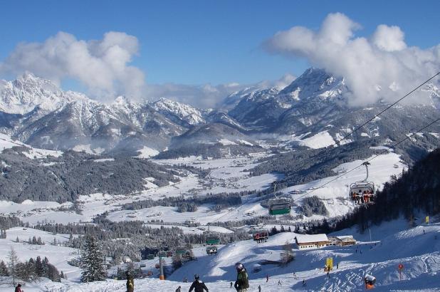 Panorama de las pistas de Fieberbrunn en los Alpes de Kitzbühel