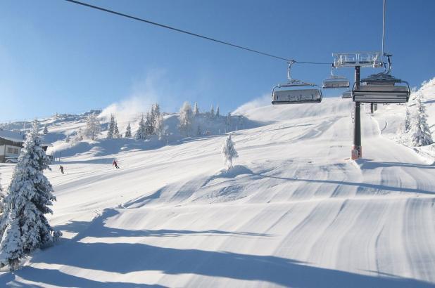 Panorámica de las pistas nevadas de Flachau