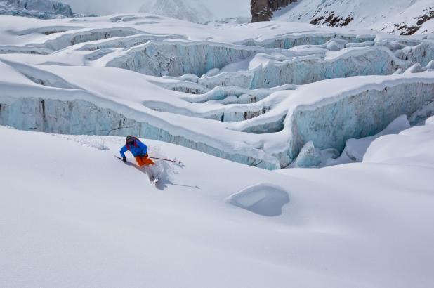 Bajando la Vallée Blanche a lps pies del Mont Blanc
