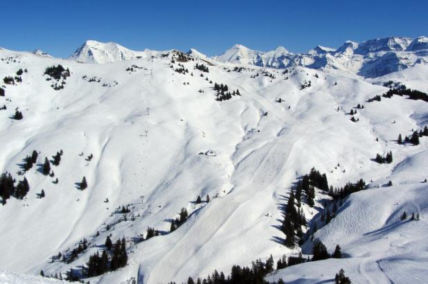 Foto de Saanenmöser. Tomada desde el pico Saanerslochgrat
