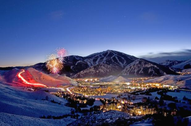 Imagen nocturna de Sun Valley Ski en Idaho