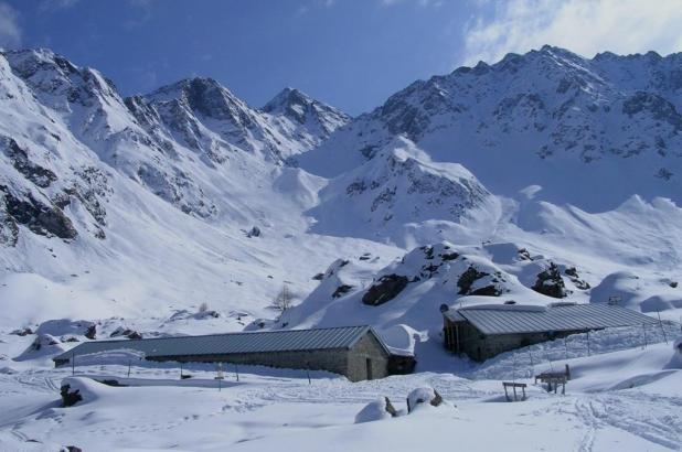 Paisaje nevado en Teglio
