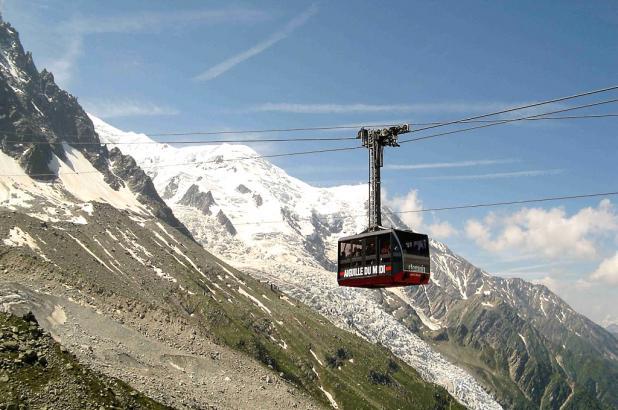 Vista del teleférico de l'Aiguille du Midi