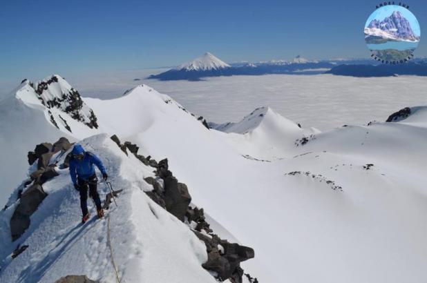 cumbre del volcán Calbuco en la reserva nacional LLanquihue en Chile, foto George Holt Maritn